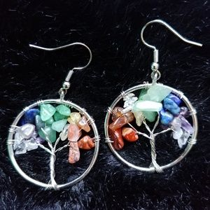 New Tree of Life Chakra Gemstone Handmade Earrings